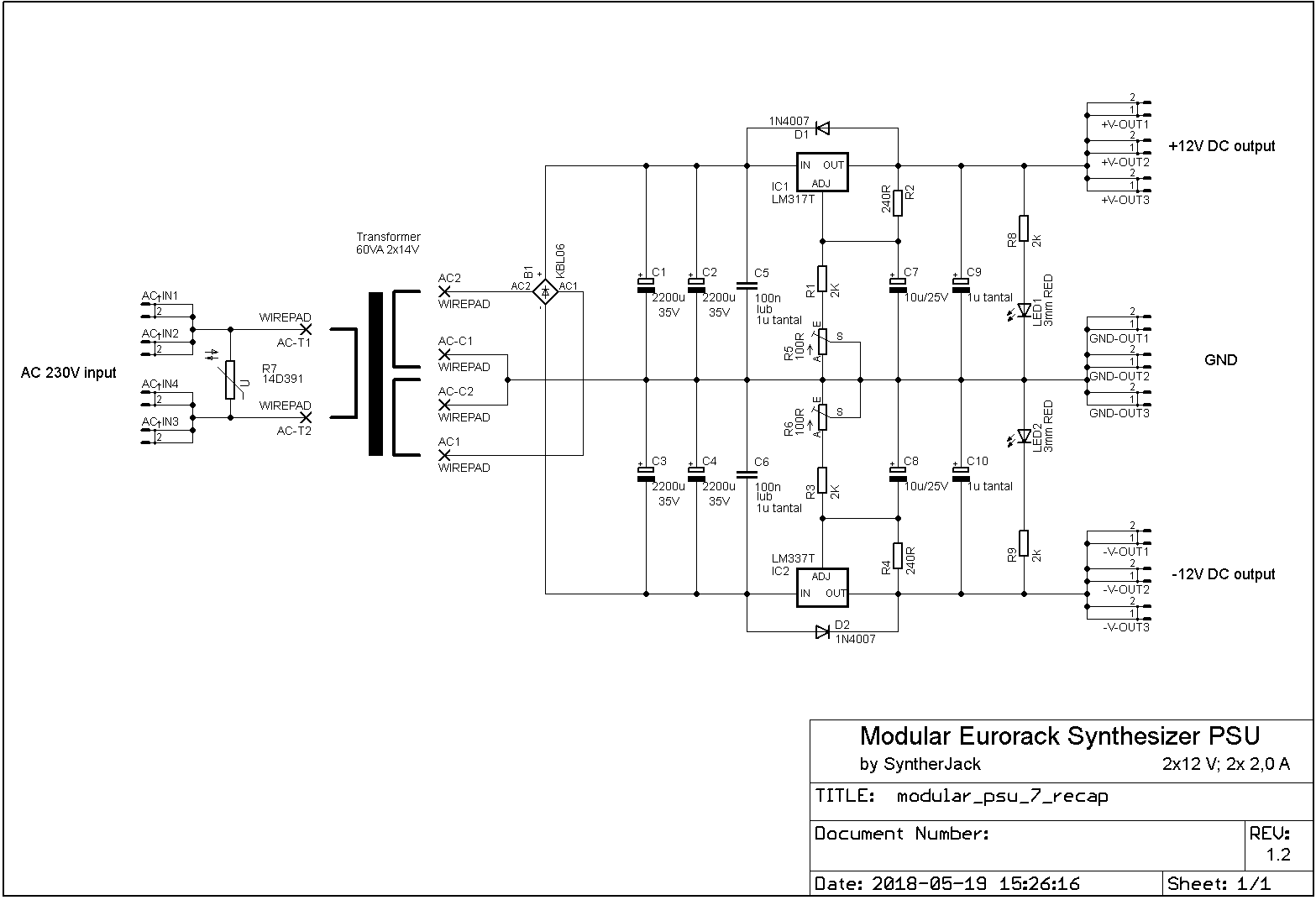 Eurorack modular power supply schematics