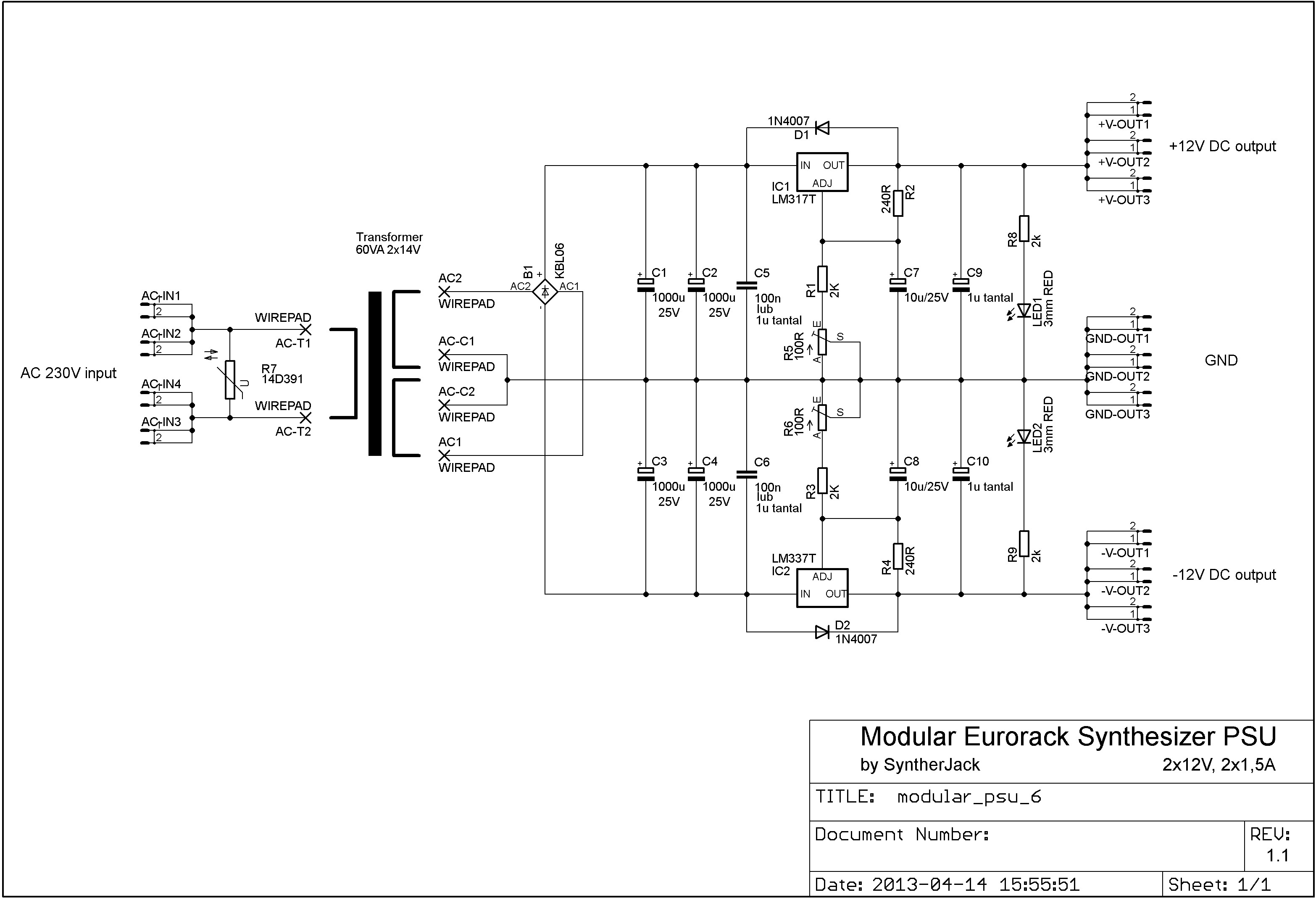 Modular Synth Power Supply