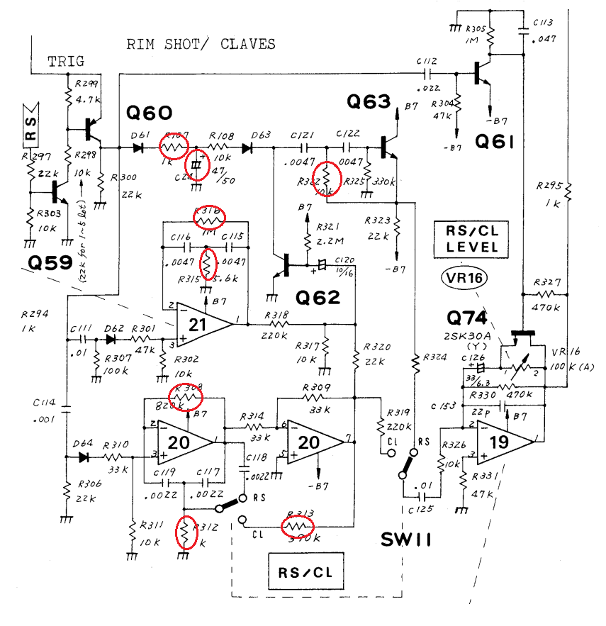 TR808 RS/CL circuit with marked mod points (from service manual)