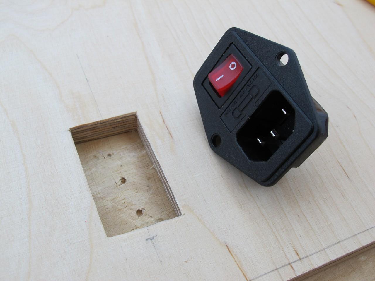 Finished hole for PSU socket