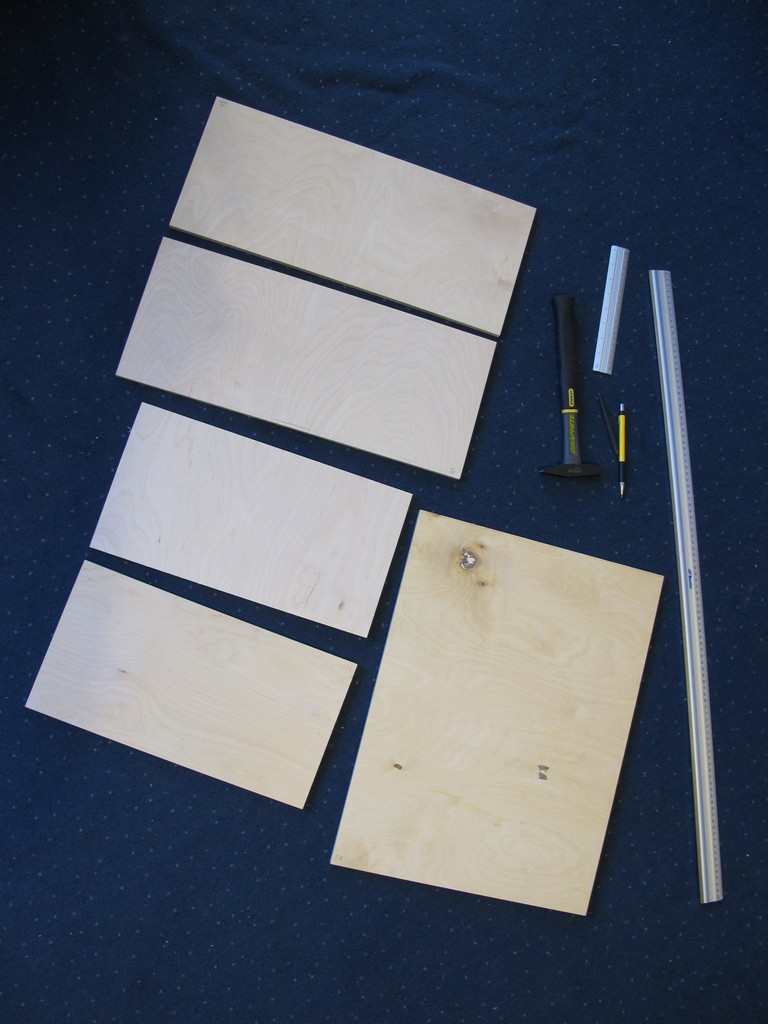 Cut plywood pieces
