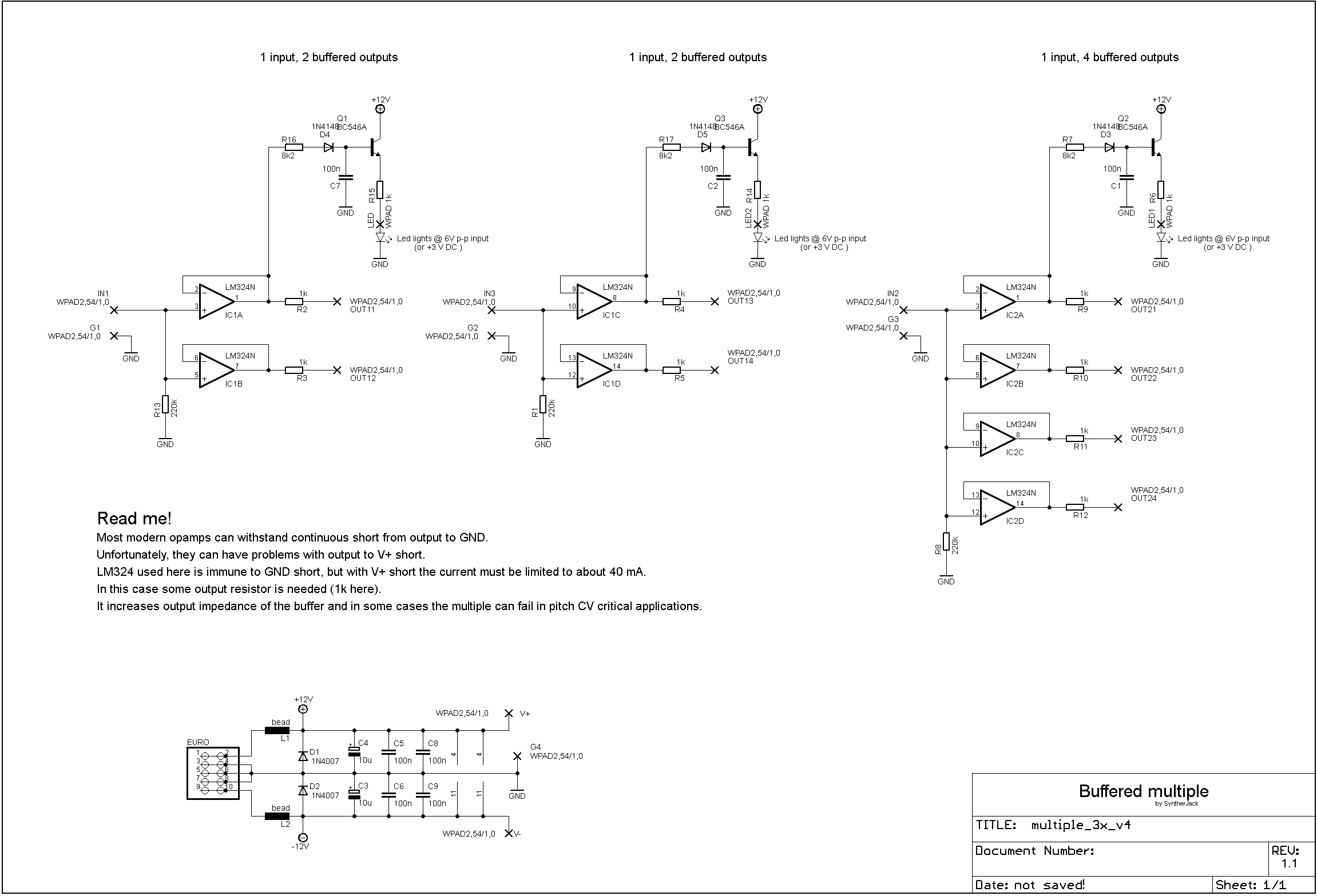 Active (buffered) multiple schematic