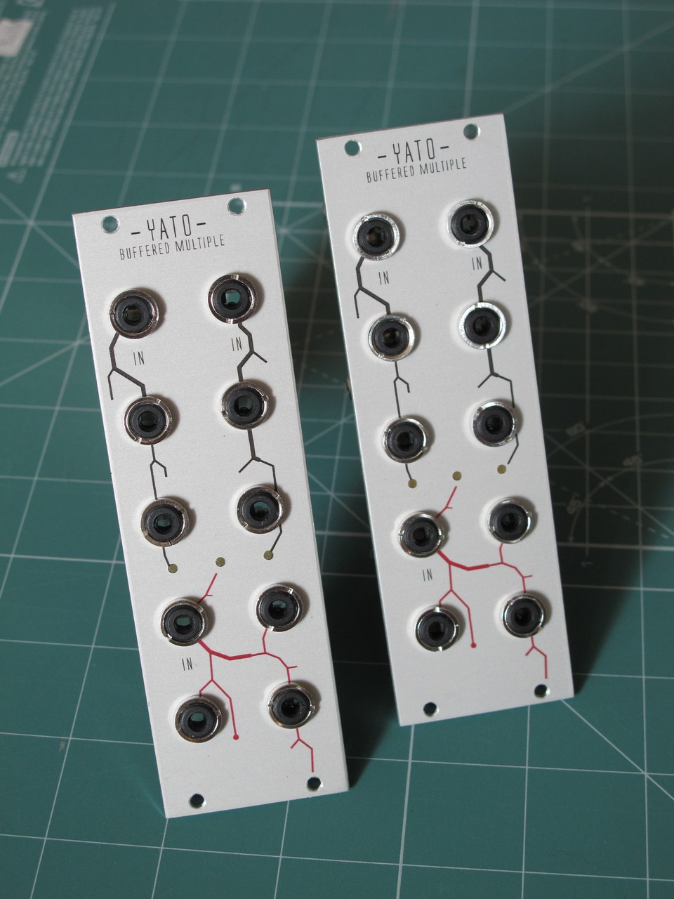 Front shot of the two eurorack multiple modules