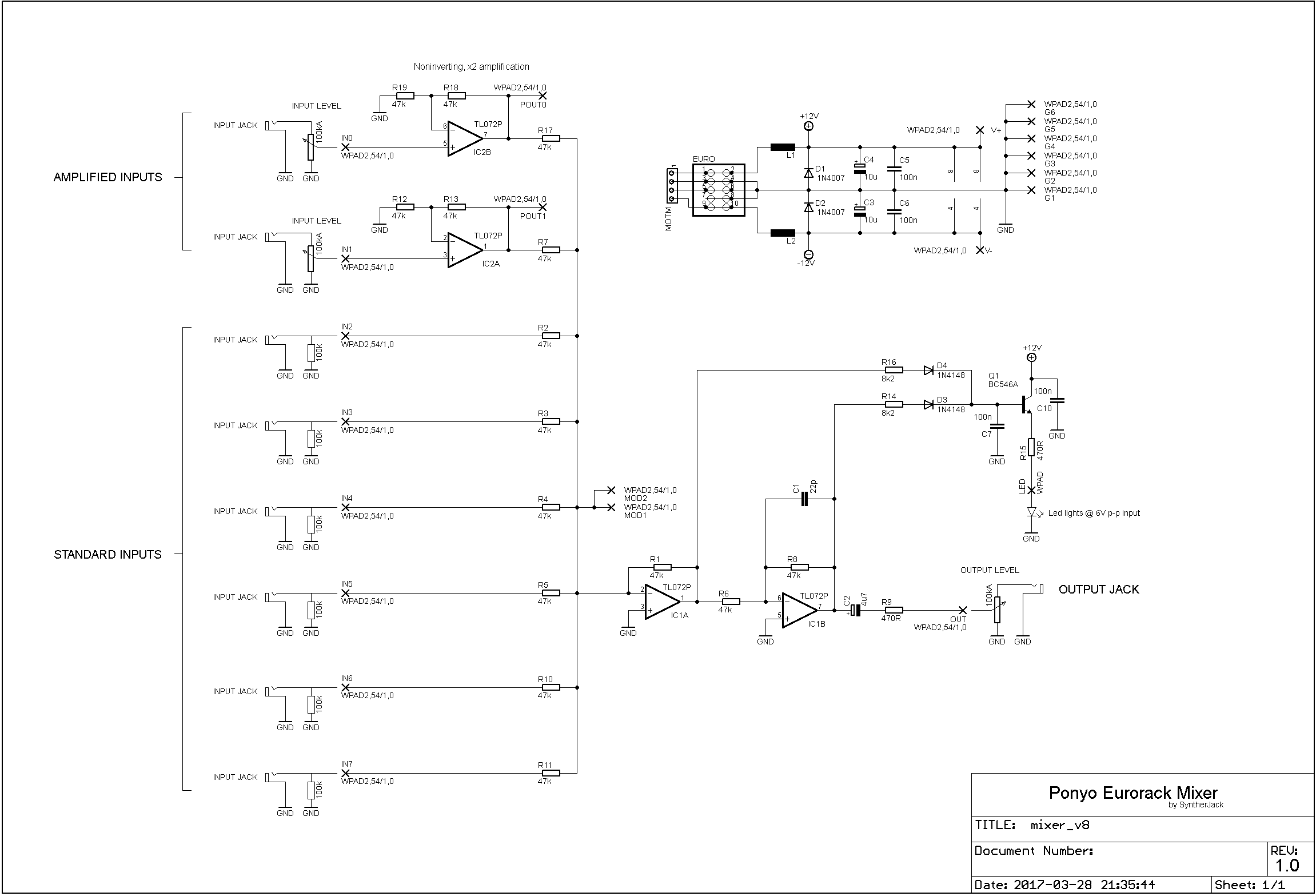 Ponyo Simple Eurorack Audio Mixer Syntherjack Schematic For Sound Level Meter Schematics
