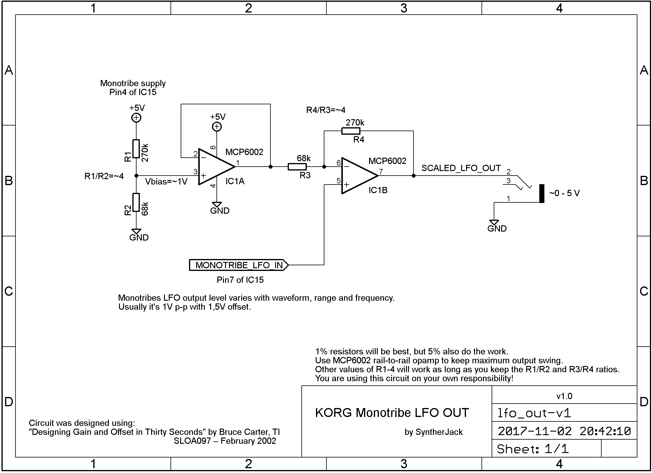 LFO output scaling circuit schematic
