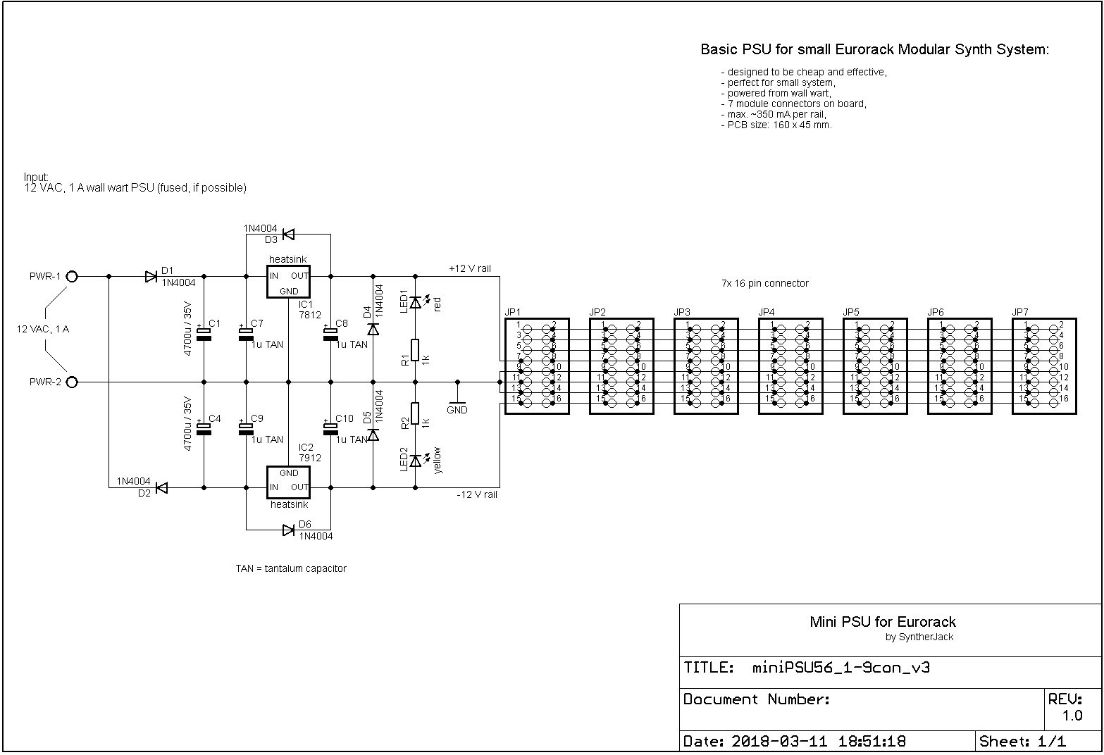 Mini modular synth power supply schematic