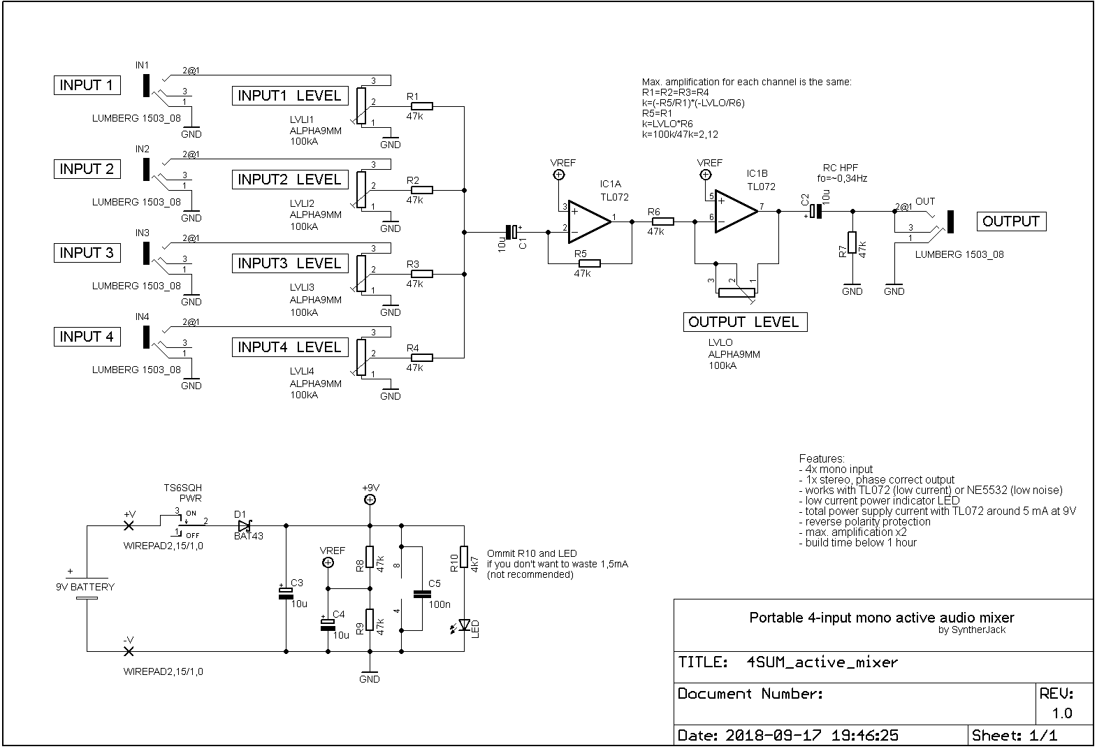 Electronic schematic of 4sum mixer
