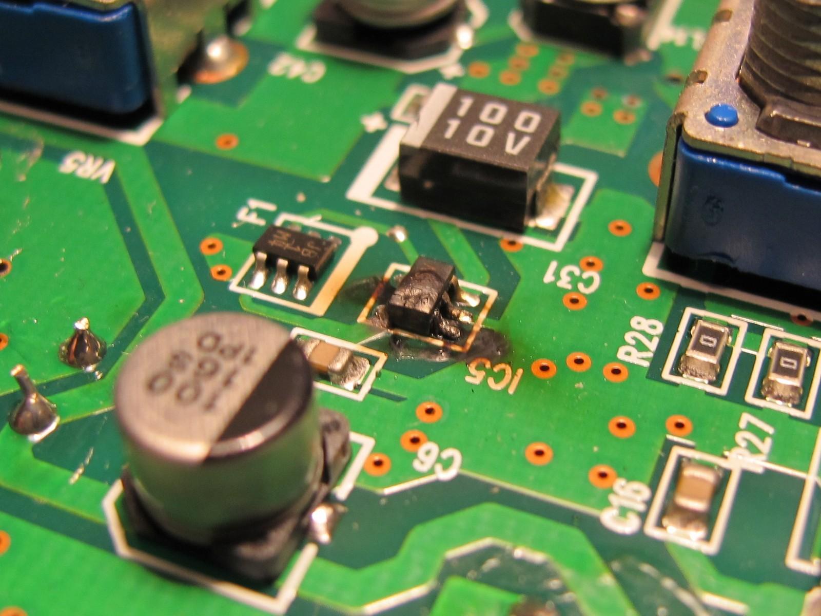 Burned switching regulator controller IC