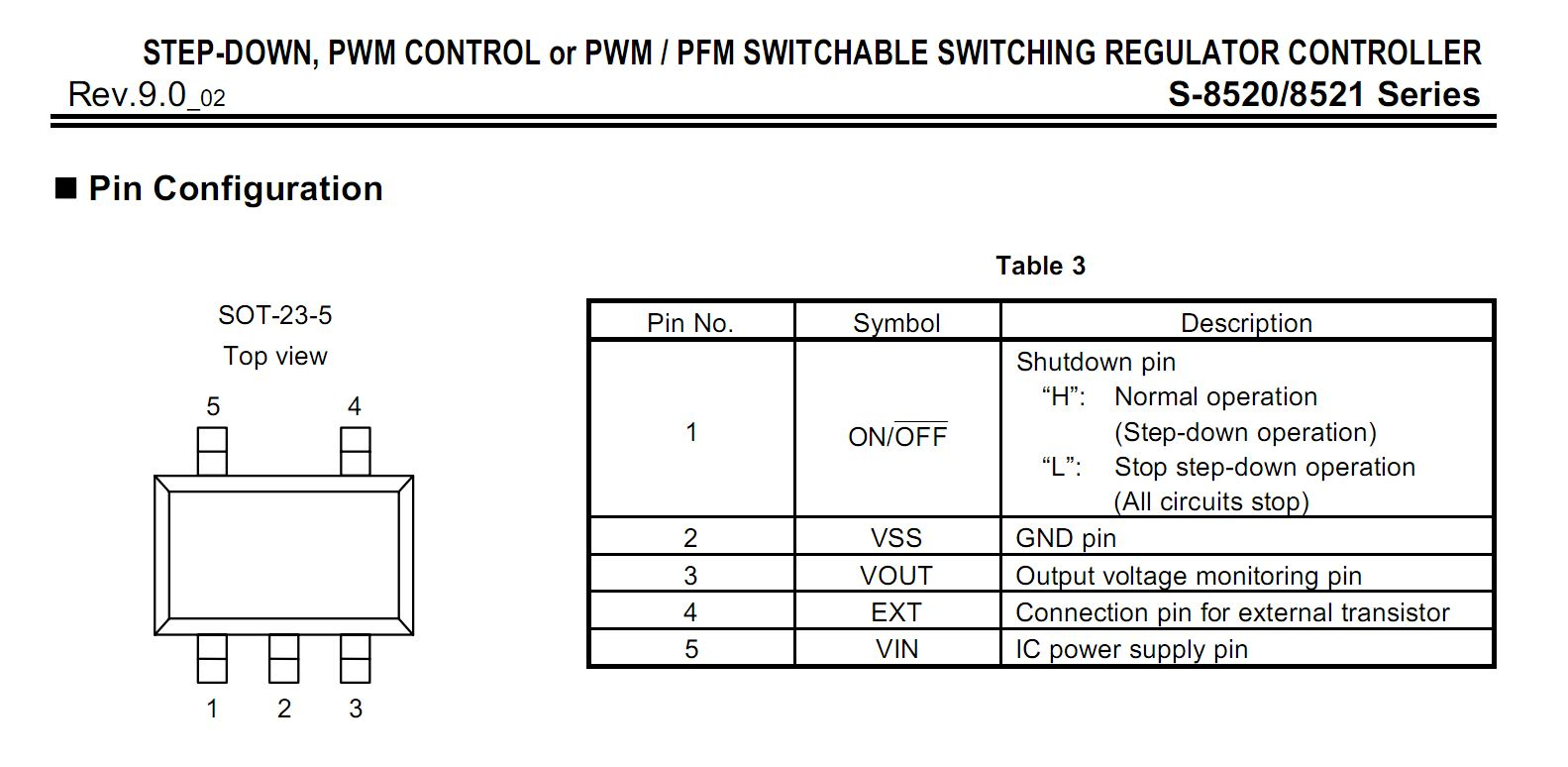 S-8520 switching regulator controller pinout