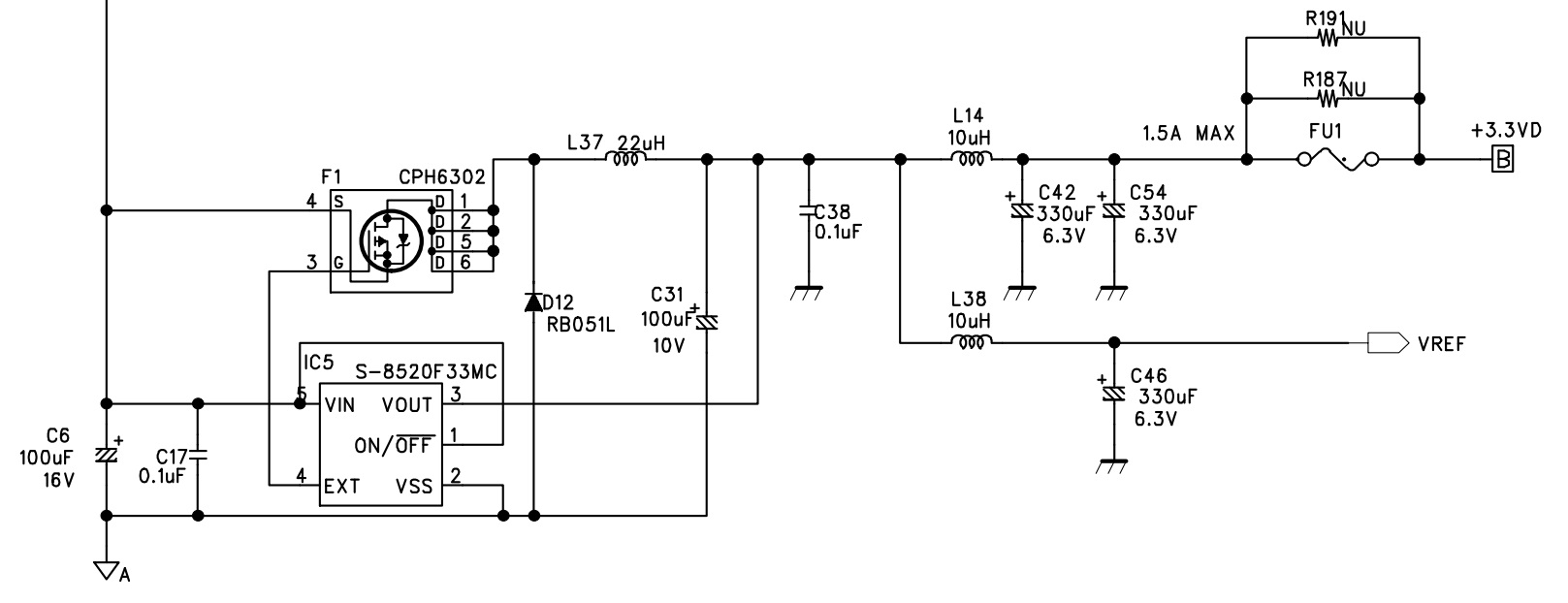 Schematic of Korg Microkorg power supply 3,3V section