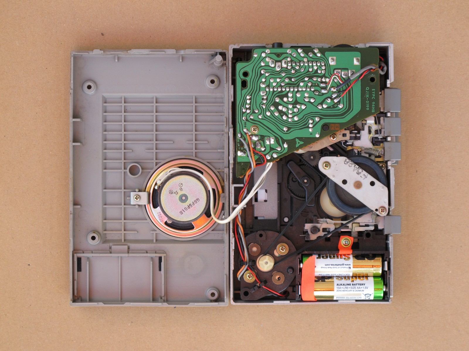 Opened Panasonic RQ340 cassette recorder